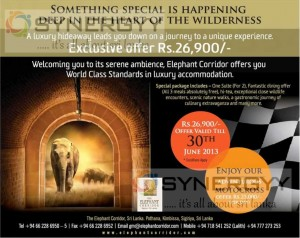 Special offer for Elephant Corridor in Sigiriya at 30th June 2013