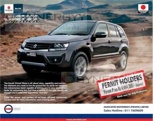 Suzuki Grand Vitara for Rs. 4,464,300.00 for Permit Holders