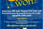 Swipes HNB Debit card and gets Cash back of Rs. 5,000.00 – From 1st May to 30th June 2013