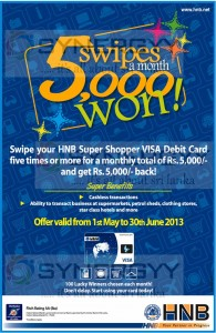 Swipes HNB Debit card and gets Cash back of Rs. 5,000.00 - From 1st May to 30th June 2013