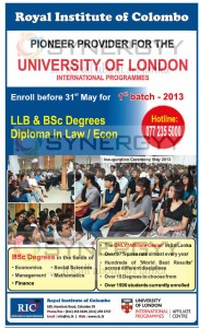 University of London International Degree Programme 1st Batch Enrolment on May 2013