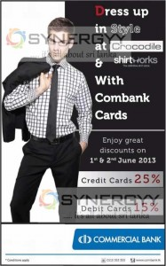 Upto 25% Discount for Crocodile & Shirt Works on 1st and 2nd June 2012 for Combank Cards
