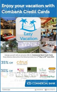 Upto 35% off for Hotel Accommodation for Commercial Bank Credit Card