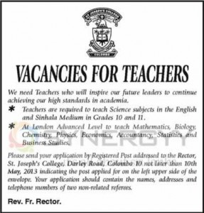 Vacancies for Teachers at St. Joseph Colloege