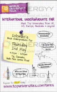 World University Tour – an International Undergraduate Fair in Colombo on 2nd May 2013
