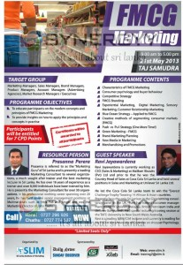 FMCG Marketing by Prasanna Perera on 21st May 2013