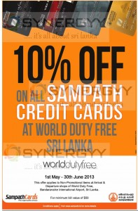 10% off at Worlddutyfree BIA for Sampath Bank Credit Cards – till June 2013