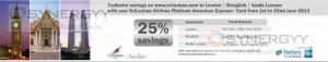 25% off for American Express Credit card Promotion with Sri Lankan Airline – 1st to 22nd June 2013