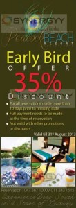 35% Early Bird Offer from Peacock Beach Resort – Valid till end August 2013