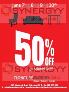 50% off from Furniture Factory till 10th June 2013