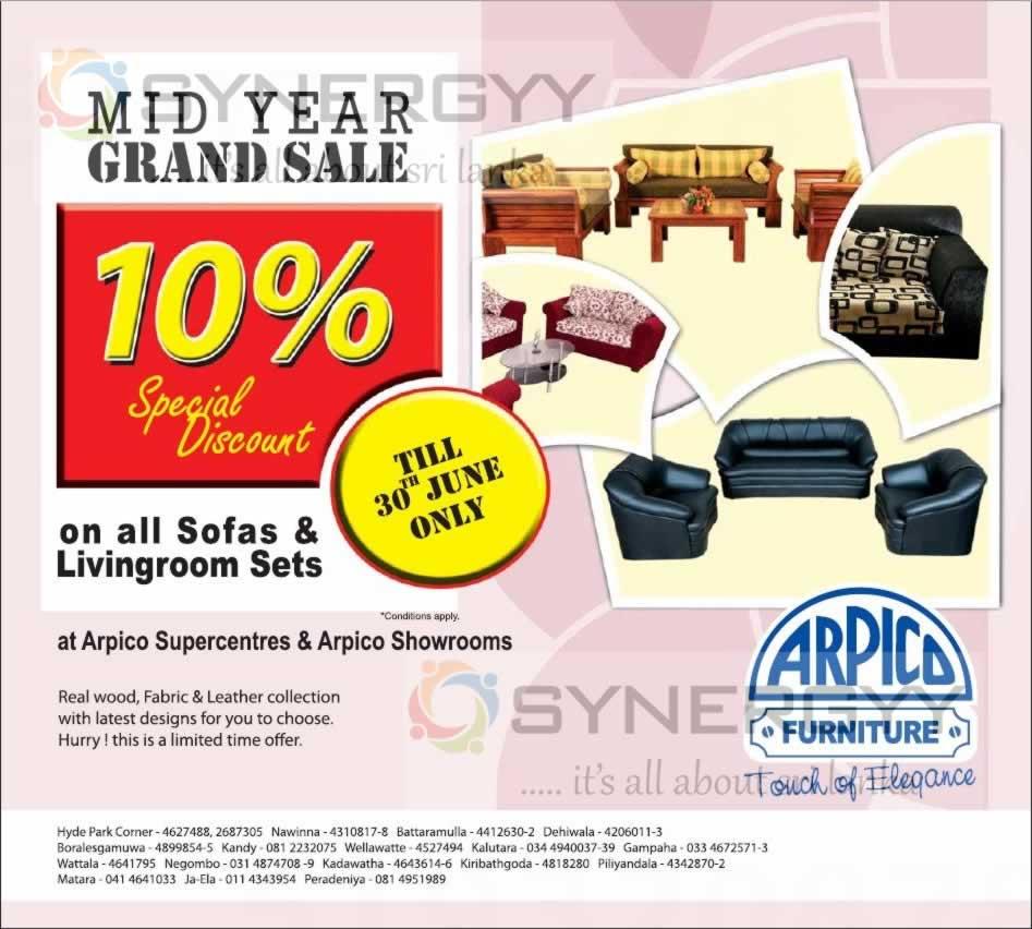 Arpico Furniture Mid Year Grand Sale Till 30th June