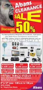 Abans Stock Clearance Sale Discount Upto 50% at Hotel School Matale – till 12th June 2013