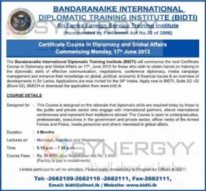 Bandaranaike International Diplomatic Training Institute (BIDTI)