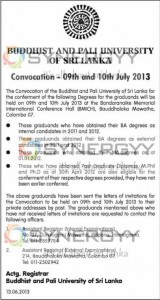 Buddhist and Pali University Of Sri Lanka Convocation - 09th & 10th July 2013