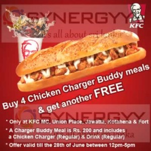 Buy 4 Chicken Charger and Get One Free from KFC Sri Lanka