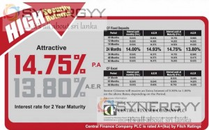 Central Finance Company PLC – Highest Interest rate as 14.75% per Annum