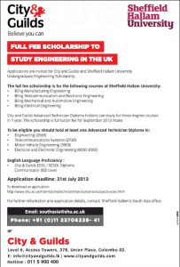 Full Scholarship for Study Engineering in City & Guilds – Apply before 31st July 2013