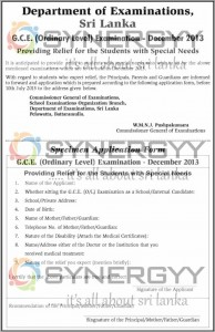 G.C.E (OL) Examination Special Relief for the Student with Special Needs for December 2013 Examination