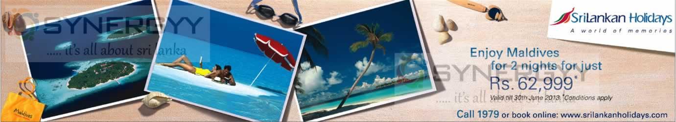 Maldives for 2 nights rs 62 valid till 30th june for Yamaha financing hsbc