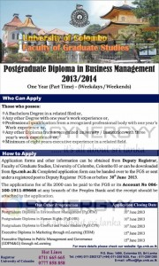 Postgraduate Diploma in Business Management – 20132014 - University of Colombo