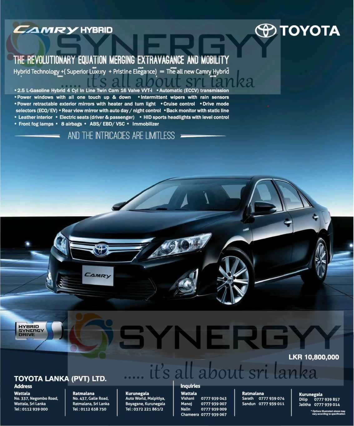 Toyota Vehicles Prices and Promotions in Sri Lanka – SynergyY