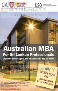 University of Southern Queens Land MBA in Srilanka – Enrol before 25th June 2013