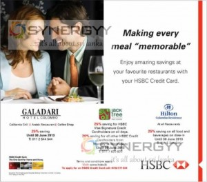 Up to 25% Discount at leading Restaurants for HSBC Credit Cards till 30th June 2013
