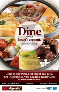 20% Discounts for VISA Credit or Debit card from Pizza Hut Sri Lanka