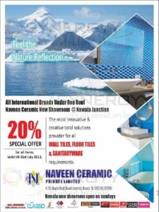 20% Special Offer from Naveen Ceramic till 31st July 2013