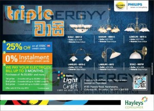 25% Off for HSBC Credit card at Hayleys Light Crafts – Triple Vasi Promotion