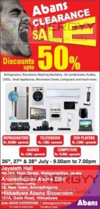Abans Stock Clearance Sale in Ja-ela, Anuradhapura & Hikkaduwa from 26th July to 28th July 2013