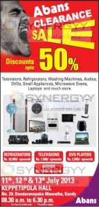 Abans Stock Clearance Sale in Kandy – Discount Upto 50% from 11th to 13th July 2013