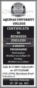 Certificate in Business English by Aquinas University College