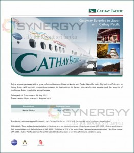 Colombo – NaritaOsaka Cathay Pacific Business Class Promotion – till 31st July 2013