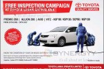 Free Inspection Campaign At Toyota Lanka Ratmalana from 24th June – 24th July 2013