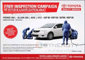Free Inspection Campaign At Toyota Lanka Ratmalana from 24th June - 24th July 2013