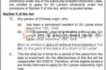 Granting Citizenship to Sri Lankans of Chinese Origin