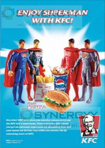 KFC Kids Meal Menu for Rs. 375.00 With Superman Toy