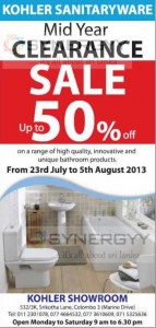 Kohler Sanitaryware Midyear Clearance Sale till 5th August 2013