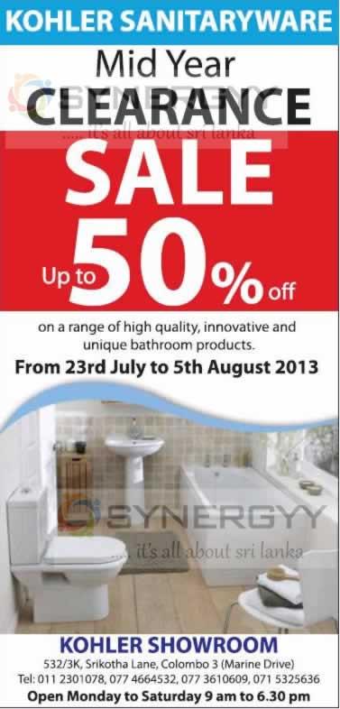 Kohler Sanitaryware Midyear Clearance Sale till 5th August 2013 ...