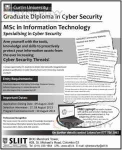 MSc in Information Technology - Graduate Diploma in Cyber Security from Curtin University – Apply Before 9th August 2013