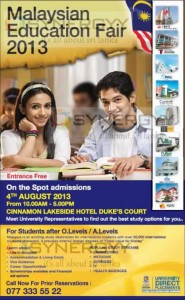 Malaysian Education Fair 2013 Cinnamon Lakeside Hotel on 4th August 2013