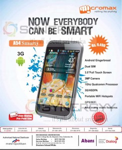 Micromax A54 Smarty for Rs. 9,490.00 in Sri Lanka