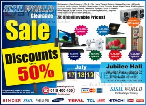 Sisil World Clearance Sale on 17th to 19th in Colombo – Discount upto 50%