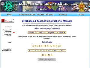 Sri Lanka School Syllabuses and Teachers Instructional Manuals