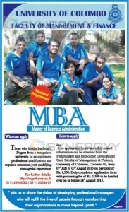 University of Colombo MBA Programme – Admission Called now