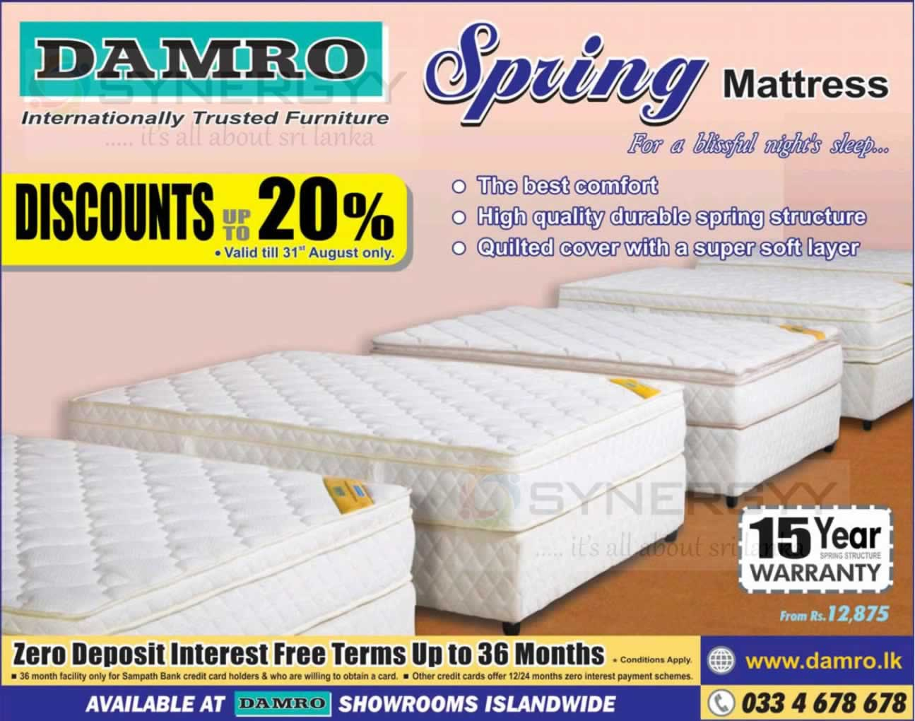 20 % off for damro mattress today synergyy 20 % off for damro mattress