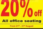 20% off on all Office Seating from NIMO & Company – from 21st to 31st August 2013