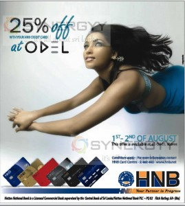 25% off for HNB Credit Card at ODEL Stores – 1st & 2nd August only