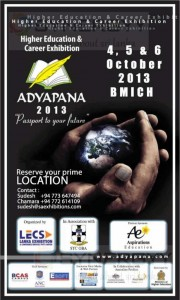 Adyapana 2013 Education Exhibition on 4th, 5th and 6th October 2013